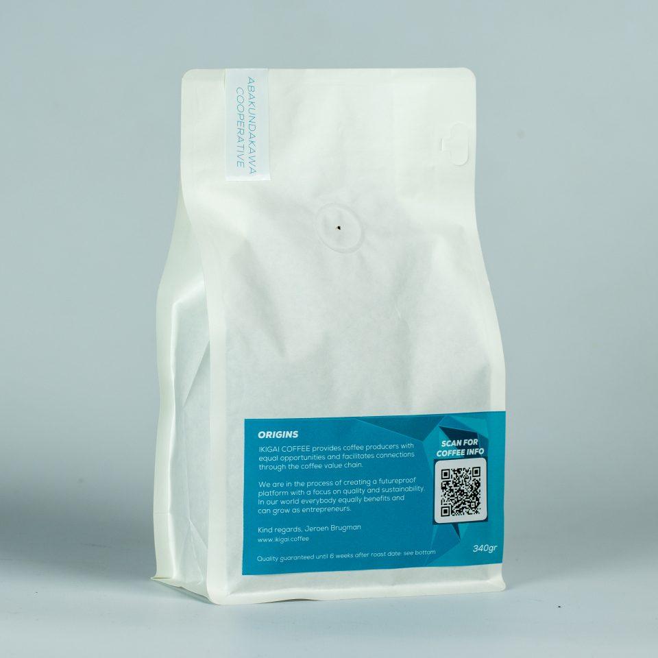 340 grams coffee bag with Rwandan coffee beans